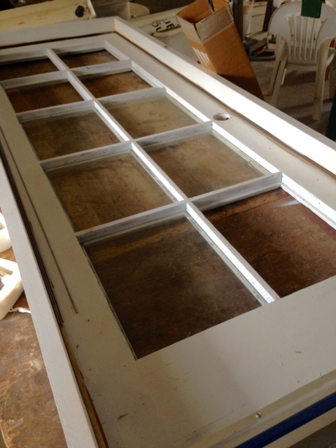 This door was completely disassembled and rebuilt to a narrow size for the hen house